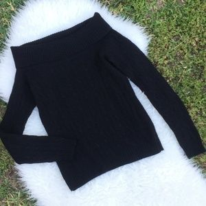 Ralph Lauren Black Cowl Neck Sweater 100% Cashmere